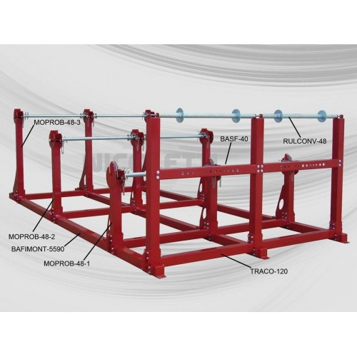 Horizontal racking for heavy drum payoff - Loading with overhead crane