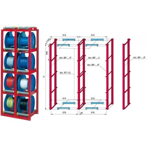 Scaffalatura prelievo dinamico svolgimento manuale  piccole bobine max Ø400 su rulli